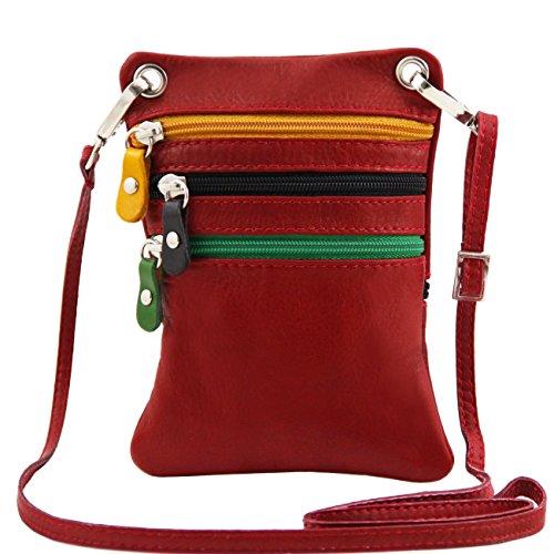 Tuscany Leather TL Bag - Bolsillo unisex en piel suave Cognac Bolsos en piel Rojo