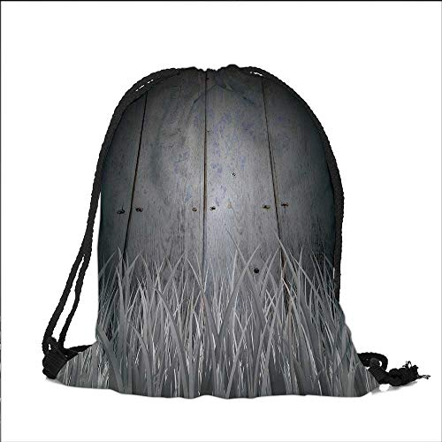 Pocket Drawstring Bag Antique Old Planks American Style Western Rustic Wooden with thick growth of grass Backpack Student Bag 14