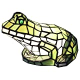 Bieye L10225 10-inch Green Frog Tiffany Style Stained Glass Accent Table Lamp - Night Light