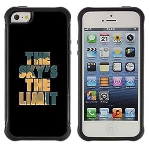 Suave TPU GEL Carcasa Funda Silicona Blando Estuche Caso de protección (para) Apple Iphone 5 / 5S / CECELL Phone case / / Sky Limit Inspirational Black Blue /