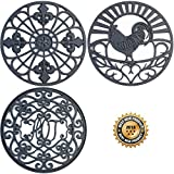Silicone Trivet Set For Hot Dishes | Modern Kitchen Hot Pads For Pots & Pans | Country Decor Designs Mimics Vintage Cast Iron Trivets | 7.5'' Round, Set of 3, Dark Gray