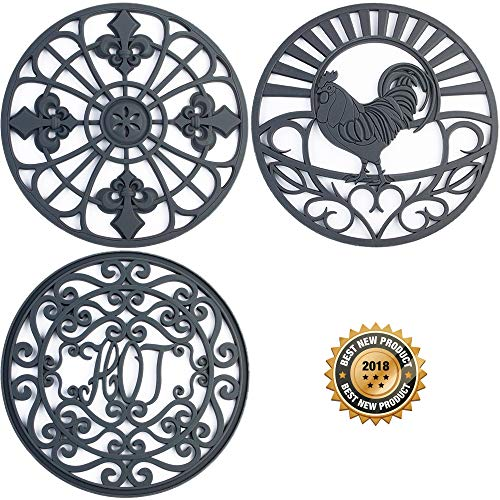 Silicone Trivet Set For Hot Dishes   Modern Kitchen Hot Pads For Pots & Pans   Country Decor Designs Mimics Vintage Cast Iron Trivets   7.5'' Round, Set of 3, Dark Gray by Love This Kitchen
