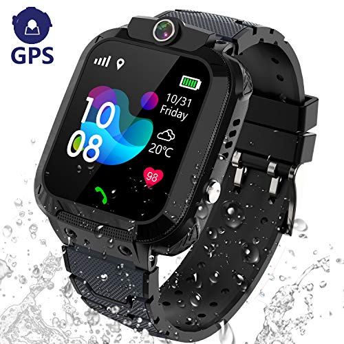 Kids Smart Watch GPS Tracker - IP67 Waterproof Smartwatch Phone for Kids HD Touch Screen SOS Call Voice Chat Digital Wrist Watch Alarm Clock Camera Birthday Gifts for School Boy Girls (Black)