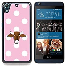 KawaiiCovers [ HTC DESIRE 626 Case ][ Hard Back Cover ] - Bull Pale Pink Polka Dot
