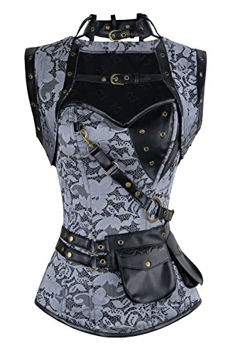 Charmian Women's Retro Goth Spiral Steel Boned Brocade Steampunk Bustiers Corset with Jacket and Belt Grey Small -