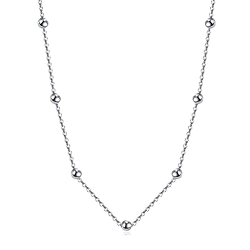 Women's 925 Sterling Silver Beaded Cable Chain Choker Necklace Adjustable qtUKbZ6gCl
