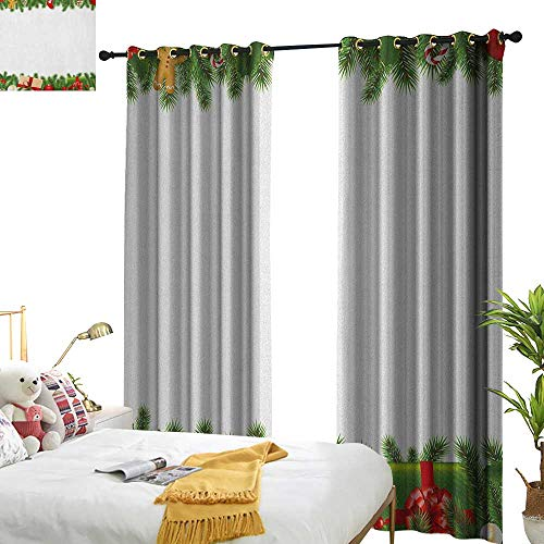 WinfreyDecor Simple Curtain Christmas Celebration Borders Fir Tree Classic Garland Gingerbread Man Lollipops Presents Home Garden Bedroom Outdoor Indoor Wall Decorations W96 x L84 Multicolor
