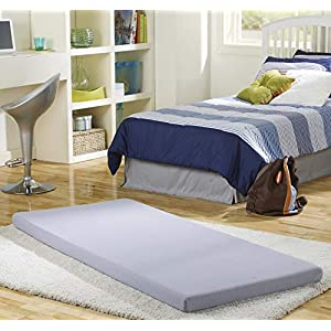 Simmons BeautySleep Siesta Memory Foam Mattress: Roll-Up Guest Bed/Floor Mat, 3″ Twin