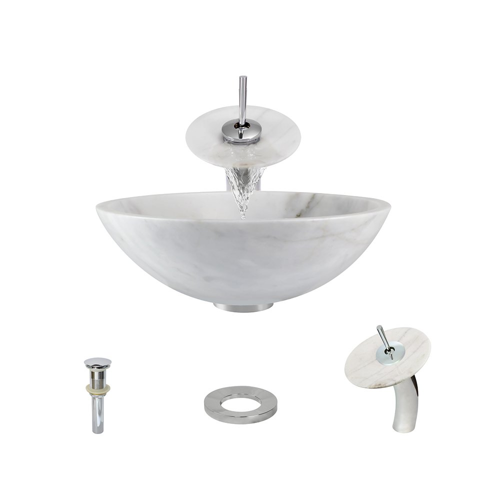 VIGO Amber Sunset Glass Vessel Bathroom Sink and Linus Vessel Faucet with Pop Up, Antique Rubbed Bronze