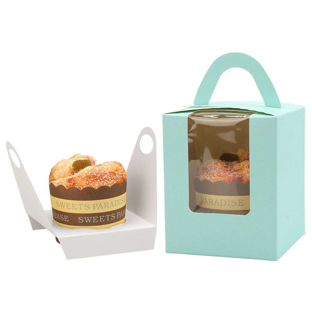 KiraKira Cupcake Boxes 30 Pack with Inserts Bakery Boxes with Window and Handle Muffins Containers Single Cupcake Carrier Holders for Baby Shower Wedding Birthday Partie-Blue