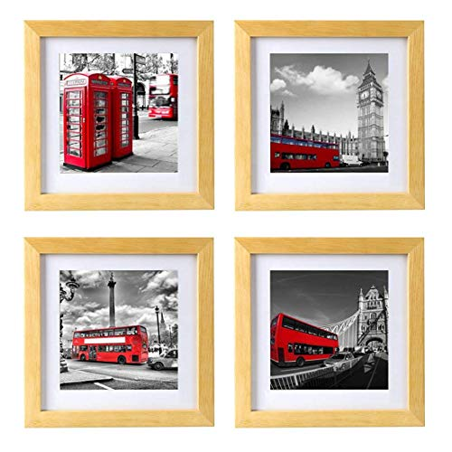 BOJIN 8x8 Log Picture Frames Holds 6x6 Wooden Square Photo Frame with Mat for Wall Hanging or Table Top-4 Pack
