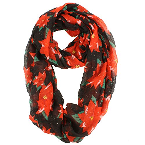 - D&Y Women's Poinsettia Holiday Print Loop Scarf with Sparkles, Black, One Size