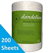 Dandelion Diapers Biodegradable and Flushable Envionmentally Friendly, Safe, Natural Diaper Liners, 100% Bamboo VISCOSE Fiber, 200 Sheets