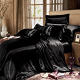 THXSILK Silk Duvet Cover Set 4 Piece, Silk Sheets, Luxury Bedding Sets - Ultra Soft, Machine Washable, hypoallergenic, Durable - 100% Top Grade Mulberry Silk, Queen Size, Black