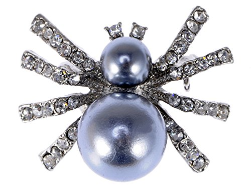 Alilang Petite Faux Pearl Opaque Clear Crystal Rhinestone Spider Queen Insect Pin Brooch ()