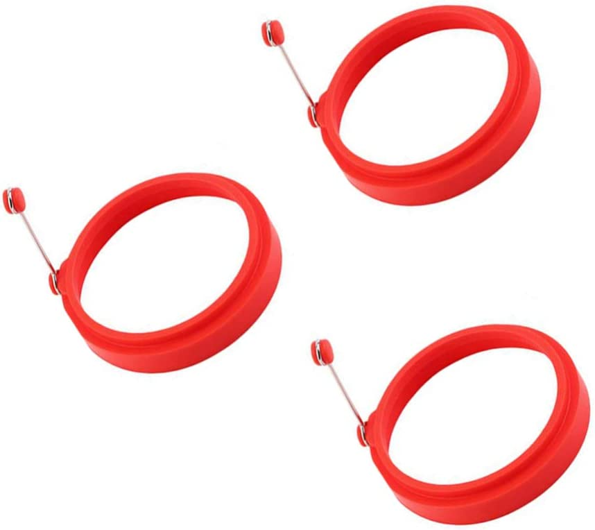 UPKOCH 3pcs anneau de silicone oeuf moule de cuisson avec moule de poign/ée ronde moule /à cr/êpes anneaux de silicone r/éutilisables pour la cuisson des oufs au plat pancakes