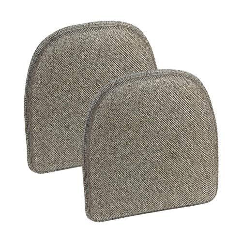 "Klear Vu Herringbone Gripper Essentials Non-Slip Dining Kitchen Chair Pad, Set of 2, 15"" x 16"", Gray 2 Set"