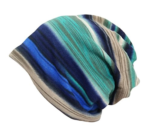 Striped Beanie Cap - Qunson Women's Soft Rainbow Striped Slouchy Cap Beanie Skull Hat