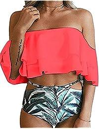 MOONOO Women Generous Sexy Fashion Beach Floral Print Flounce Two Piece Swimsuit High Waist Ruffled Bikini