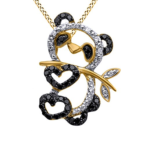 White Gold Panda - AFFY Simulated Black & White Cubic Zirconia Panda Charm Pendant Necklace in 14k Yellow Gold Over Sterling Silver