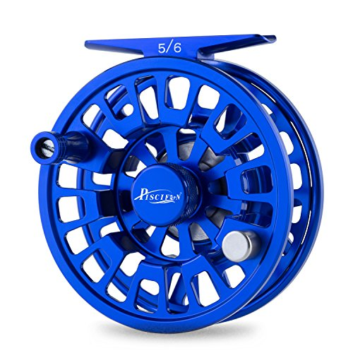Piscifun Blaze Mid Arbor Fly Fishing Reel with CNC-machined Aluminum Alloy Body 5/6 Sapphire Blue