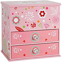 JewelKeeper Wooden Music Box with 2 Pullout Drawers, Flashy Flowers Design, You Are My Sunshine Tune