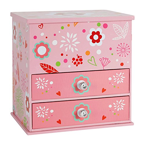 JewelKeeper Wooden Music Box with 2 Pullout Drawers, Flashy Flowers Design, You Are My Sunshine (U Are My Sunshine)