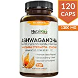 #2: Ashwagandha 1300mg Made With Organic Ashwagandha Root Powder & Black Pepper Extract - 120 Capsules. 100% Pure Ashwagandha Supplement for Stress Relief, Anti-anxiety & Adrenal, Mood & Thyroid Support