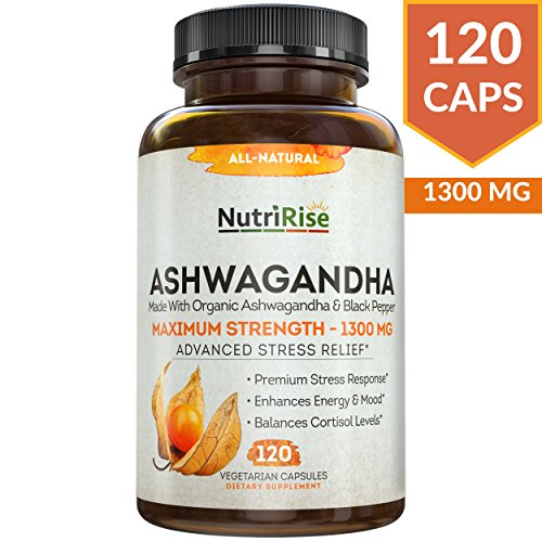 Ashwagandha 1300mg Made with Organic Ashwagandha Root Powder & Black Pepper Extract - 120 Capsules. 100% Pure Ashwagandha Supplement for Stress Relief