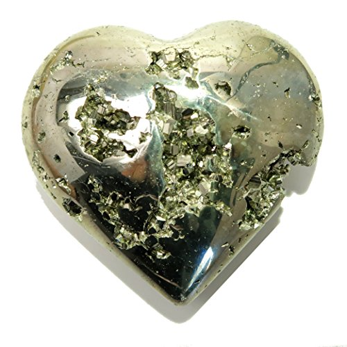 Pyrite Heart 16 Sparkling Chunky Fools Gold Gemstone (2.7 Inches)