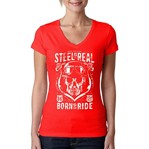 Biker Girlie V-Neck Shirt - Biker Shirt: Steel Is Real by Im-Shirt Rot