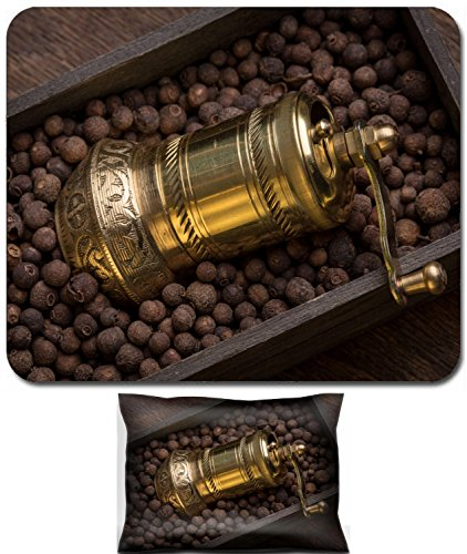 (Luxlady Mouse Wrist Rest and Small Mousepad Set, 2pc Wrist Support design Metal pepper mill in eastern style lying a wooden box filled with sweet scented IMAGE: 26461842)