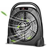 TRUSTECH Remote Table Fan - Portable Floor Fan with 3 Speeds & Automatic Shut Off Timer, Powerful or Breeze Modes, 18 Inch Box Fan with Remote Cools You Down in Hot Summer