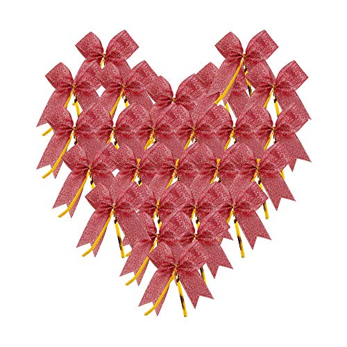 Newtrend 50 Pieces Twist Tie Bows Silver Gold Twist Tie with Metallic Ribbon (Red Metallic)