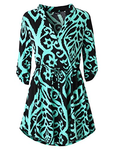 Aqua Floral Dress (Zattcas Womens Tie Waist Tunic Dress Floral Print 3/4 Roll Tab Sleeve T Shirt Dress (Small, Black Aqua))