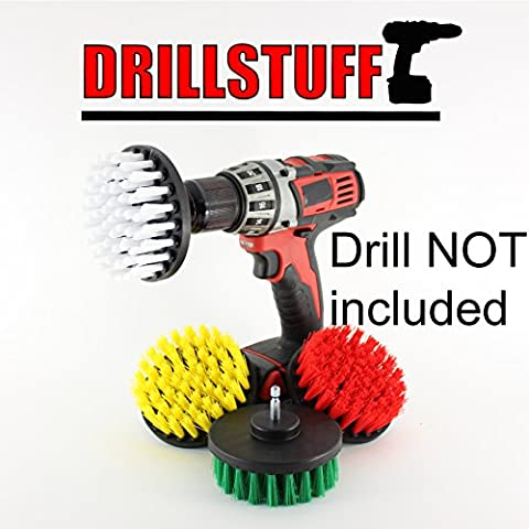 4in 4 Piece Soft, Medium and Stiff Power Scrubbing Brush Drill Attachment for Cleaning Showers, Tubs, Bathrooms, Tile, Grout, Carpet, Tires, Boats by - Carpet Cleaning Brush Tool
