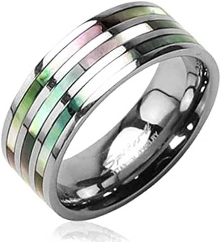 Solid Titanium with Triple Abalone Inlayed Ring