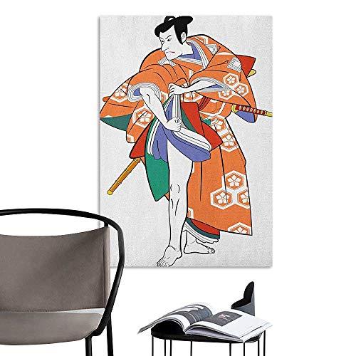 Alexandear Poster Sticker Kabuki Mask Kabuki Actor with Traditional Costume Historical Edo Era Drama Japan Culture Multicolor Kitchen Room Wall W8 x H10