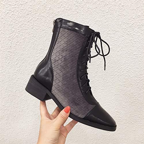 KPHY Damenschuhe Dünn Kurze Stiefel Mit Hohen Hohen Hohen 3Cm Rau Koreanischen Version Schwarz Ma Dingxue 4f6f9b