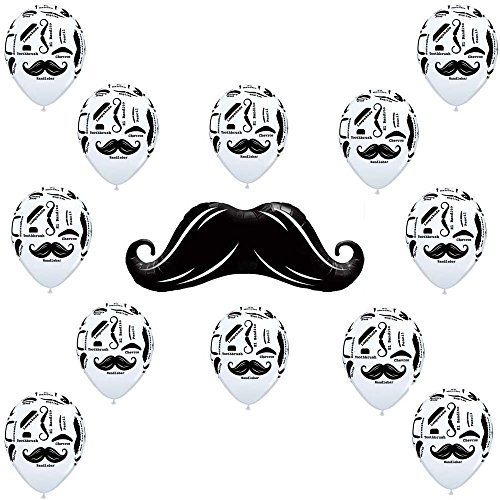 13 Piece Mustache Balloons Latex and Mylar Party -