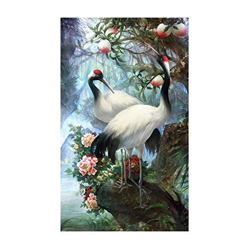 (Baulody 5D DIY Diamond Painting Kits for Adults Magic Cube Round Diamond Painting Full Drill Cross Stitch Kit 40x30cm Rhinestone Embroidery Diamond Pasted Art (Crane))