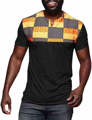 a43da141ca6057 Mr.Macy Fashion Men's Casual Slim Printed Patchwork Short Sleeve T Shirt  Top Blouse