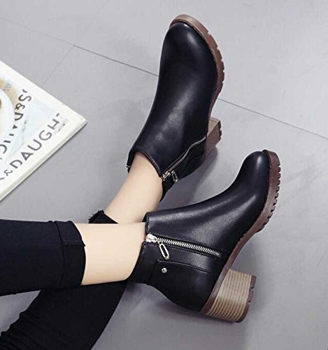 CHFSO Womens Trendy Solid Waterproof Zipper Mid Chunky Heel Gladiator Ankle Boots Black 7XPPuWBB6