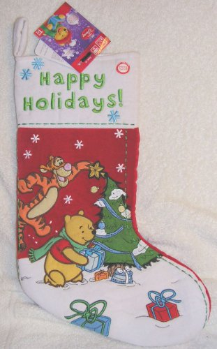 "Disney 16"" Singing Musical Winnie the Pooh and Tigger Christmas Stocking"