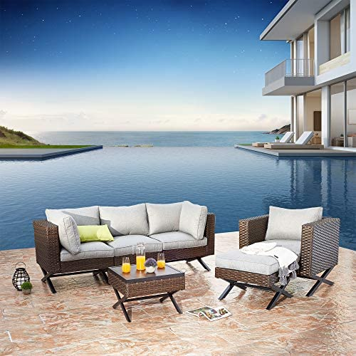 Festival Depot 6pc Patio Conversation Set Sectional Corner Sofa Arm Chairs Set Outdoor All-Weather Wicker Metal Chair