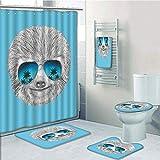 Bathroom 5 Piece Set shower curtain 3d print Multi Style,Sloth,Portrait of Sloth with Mirror Sunglasses Exotic Palm Trees Hawaiian Beach Hipster,Grey Blue Aqua,Bath Mat,Bathroom Carpet Rug,Non-Slip,Ba