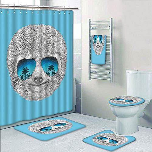 Bathroom 5 Piece Set shower curtain 3d print Multi Style,Sloth,Portrait of Sloth with Mirror Sunglasses Exotic Palm Trees Hawaiian Beach Hipster,Grey Blue Aqua,Bath Mat,Bathroom Carpet Rug,Non-Slip,Ba by iPrint
