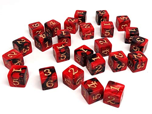 Army #6 D6 Collection - 25 Count Pack of Numbered 6 Sided Dice - Perfect for Tabletop War Games and RPGs