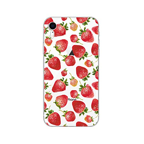 Fruit iPhone XR Case,Blingy's New Clear Cute Strawberry Style Transparent Clear Soft TPU Protective Case Compatible for iPhone XR (Bright - Strawberry Case Phone Cell