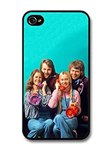 AMAF ? Accessories Abba Group Photo shoot with Telephones Blue Background case for iPhone 4 4S